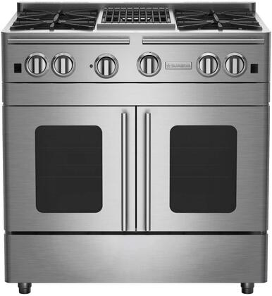 "BlueStar RNB364CBPMV2X 36"" Precious Metals Series Gas Range with 4 Burners, 12"" Charbroil Grill, Continuous Cast Iron Grates and Unique French Door Extra Large Convection Oven (Select Color Option)"