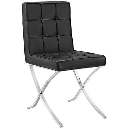 """Modway Trieste Collection 19"""" Side Chair with Polished Steel Frame and Vinyl Upholstery"""