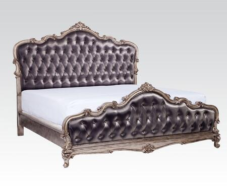 Acme Furniture Chantelle Collection Panel Bed with Button Tufting, Scrolled Ornamental Trim and Silver Grey Silk-Like Fabric Upholstery in Antique Platinum Finish