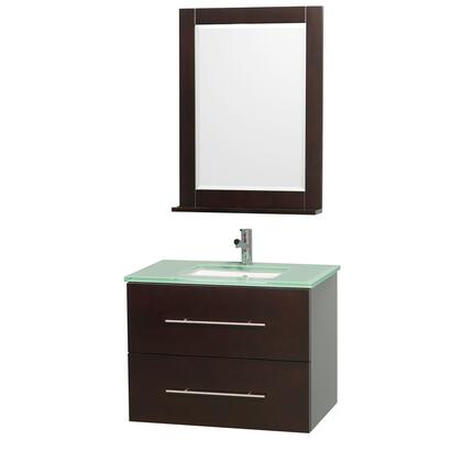 "Wyndham Collection WCV00930 30"" Single Wall Mount Vanity with Square Undermount Porcelain Sink, 1 Drawer, 1 Door, and Includes Matching Mirror in"