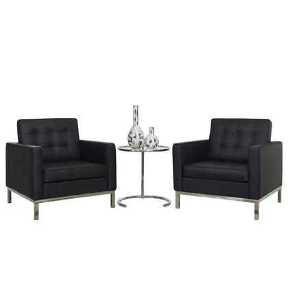 Modway EEI-859 Loft 3 Piece Chair and Side Table Set with Two Chairs, One Table, Glass Top, Genuine Leather Seating Surface, Metal Frame, Tufted Seat and Back, in