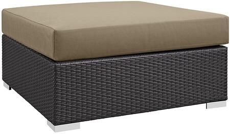 "Modway Convene EEI1845EXP 35.5"" Outdoor Patio Large Square Ottoman with Polished 201 Stainless Steel Legs, Washable Cushion Cover, UV and Water Resistant Cushions in Espresso"