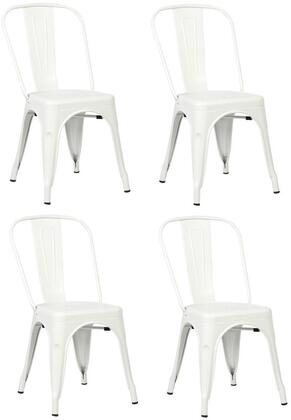 EdgeMod EM112WHIX4 Trattoria Series Modern Metal Frame Dining Room Chair