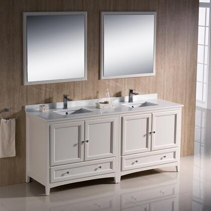 "Fresca Oxford Collection FVN203636 72"" Traditional Double Sink Bathroom Vanity with 4 Soft Close Doors, 2 Soft Close Dovetail Drawers and Tapered Legs in"