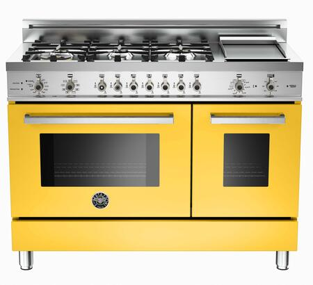 "Bertazzoni PRO486GDFSGI 48"" Professional Series Dual Fuel Freestanding Range with Sealed Burner Cooktop, 3.4 cu. ft. Primary Oven Capacity, in Yellow"