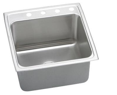 "Elkay DLR222210 Gourmet Lustertone Stainless Steel 22"" x 22"" Single Basin Kitchen Sink:"
