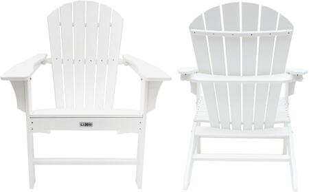 Hampton Lux 1518 Wht2 Outdoor Patio Adirondack Chair 2 Pack With 250 Lbs Weight Capacity Wide Seating And Recycled High Density Polyethylene