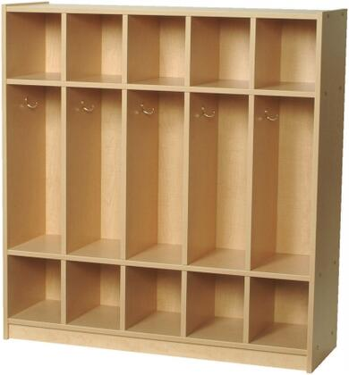 Mahar M50350 5-Section Single-Sided Child Locker with Top & Bottom Cubbies in Maple Finish with Edge Color