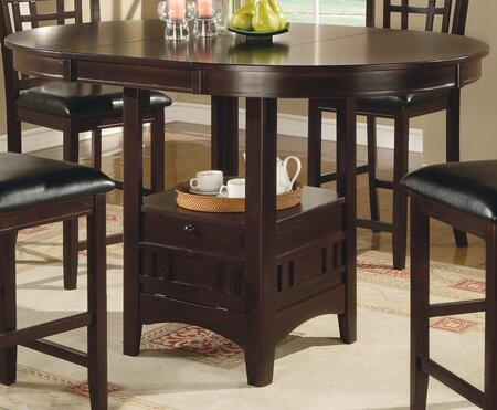 "Coaster Lavon Collection 10888T 42"" - 60"" Counter Height Table with Thick Round Table Top, 1 Extension Leaf Insert and Bottom Storage in"
