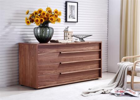 "Casabianca Dolce Collection 60"" Dresser with 4 Drawers, Wooden Pulls and Medium-Density Fiberboard (MDF) in"