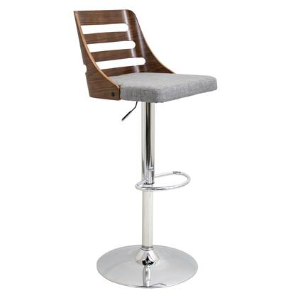 "LumiSource Trevi BS-TRV WL 32"" - 43"" Barstool with 360 Degree Swivel, Ladder-Back Backrest and Fabric Upholstery in"