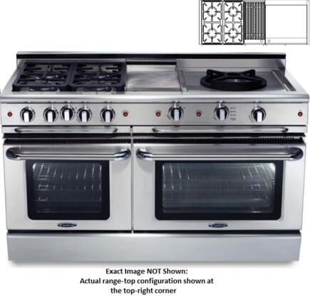 "Capital CSB604BGGN 60"" Gas Freestanding Range with Sealed Burner Cooktop, 4.6 cu. ft. Primary Oven Capacity, in Stainless Steel"