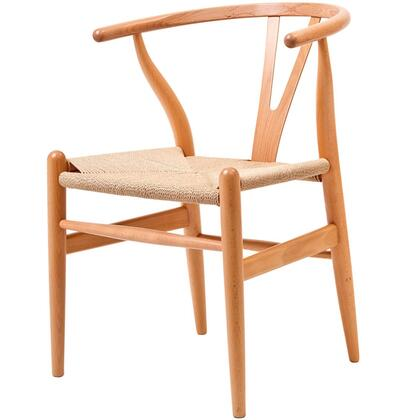 """Modway Amish Collection 22"""" Accent Arm Chair with Woven Kraft Paper Seat, Tapered Legs and Solid Beech Wood Frame"""
