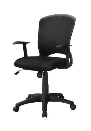 """Monarch I726MOC 37"""" - 40"""" Office Chair with Mesh Mid-Back, Adjustable Height and Grooved Armrest in"""