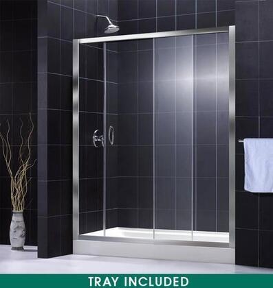 "DreamLine DL-6006 Infinity Shower Door With 36"" x 60"" Shower Base, Slip-Resistant Bottom, Fiberglass Reinforcement, Raised Edge, Single Sliding Door Design &"
