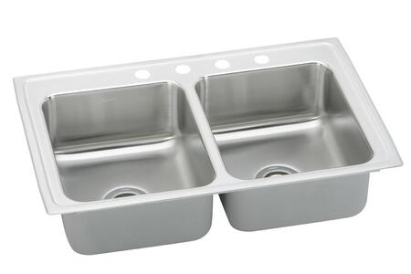 "Elkay PSR3322 33"" Top Mount Double Bowl 20-Gauge Stainless Steel Sink"