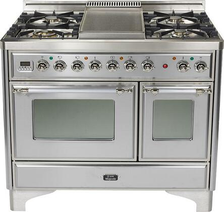 """Ilve UMD100FMPIX 40"""" Dual Fuel Freestanding Range with Sealed Burner Cooktop, 2.44 cu. ft. Primary Oven Capacity, in Stainless Steel"""