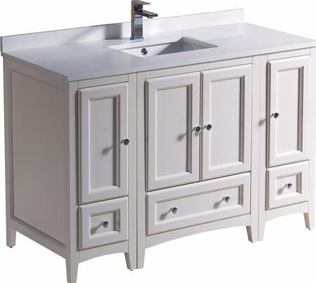 """Fresca Oxford Collection FCB20122412XX 48"""" Single Vanity with 4 Soft Close Doors, 3 Soft Close Dovetail Drawers, Quartz Stone Top and Ceramic Undermount Sink in"""