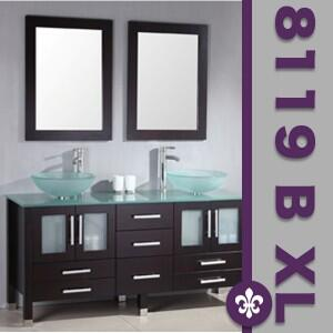 "Cambridge 8119BXLX 71"" Solid Espresso Wood & Glass Double Vessel Sink Vanity Set with Faucets"