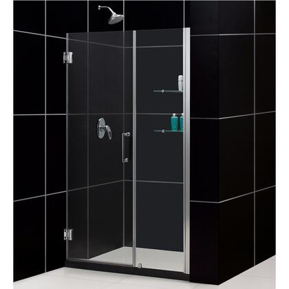DreamLine SHDR-20487210CS Unidoor Frameless Hinged Shower Door With Reversible For Right Or Left Door Opening, Self-Closing Solid Brass Wall Mounted Hinges (5 Degree Offset) & In