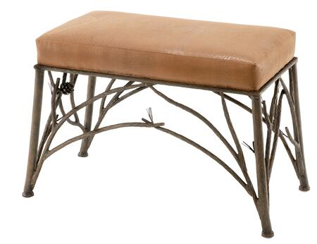 Stone County Ironworks 903134LHRLTN Pine Series Accent Bench  Leather Camel Tan Leather Bench