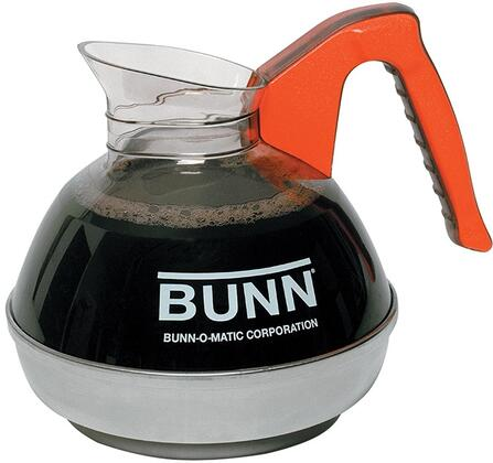 Bunn-O-Matic 0610101 64 oz Easy Pour Decanter with Orange Handle and High Quality Stainless Steel Base