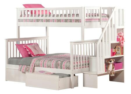 Atlantic Furniture AB5671 Woodland Staircase Bunk Bed Twin Over Full With Flat Panel Bed Drawers