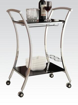 "Acme Furniture Anker 23"" Serving Cart with Metal Frame, Wine Bottle Holder, Mobility Casters, Stemware Rack and Tempered Glass Shelves in"