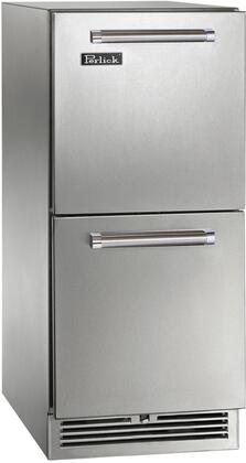 """Perlick HP15RO3x 15"""" Signature Series Outdoor Drawer Refrigerator with 2.8 cu. ft. Capacity, RAPIDcool Forced-Air Refrigeration, White or Blue LED Lighting and Low E UV-Coated Glass Door, in"""