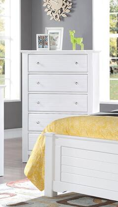 "Acme Furniture Mallowsea 38"" Chest with 5 Drawers, Side Metal Glide Drawer, Simple Metal Pulls and Pine Wood Construction"