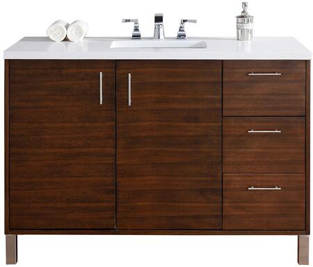 """James Martin Metropolitan Collection 850-V48-AWT- 48"""" American Walnut Single Vanity with Two Soft Close Doors, Three Soft Close Drawers, Chrome Hardware and"""