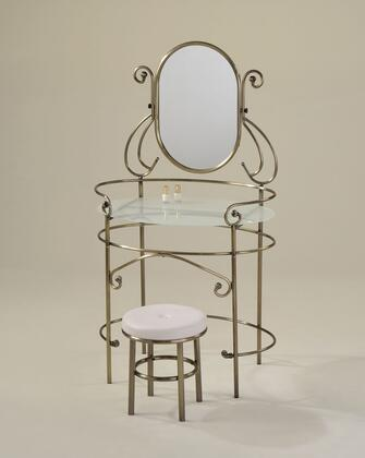 """Acme Furniture Juliet 32"""" Vanity Set with Vanity, 5mm Mirror, 5mm Frost Tempered Glass Top, Round Stool, PU Leather Seat and Polished Edge in"""