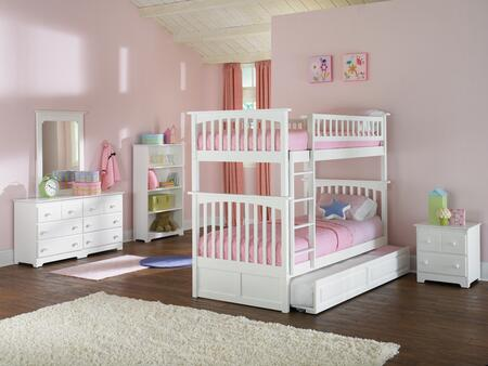 Atlantic Furniture YBBCOLUMBIATWINTWINALWH Columbia Series  Twin Size Bunk Bed