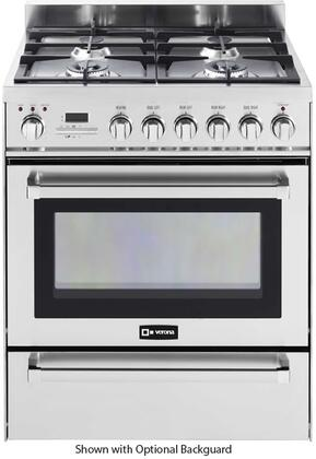 "Verona VEFSGE304P 30"" Freestanding Dual Fuel Range with 4 Sealed Burners, 3.0 cu. ft. Capacity, Self Cleaning, Warming Drawer & Electronic Ignition, in"