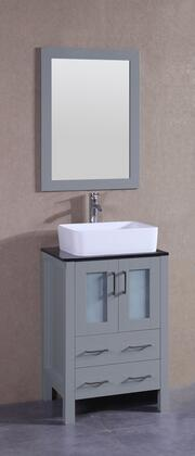 """Bosconi AGR124RCBGX XX"""" Single Vanity with Black Tempered Glass Top, Rectangle White Ceramic Vessel Sink, F-S02 Faucet, Mirror, 2 Doors and X Drawers in Grey"""