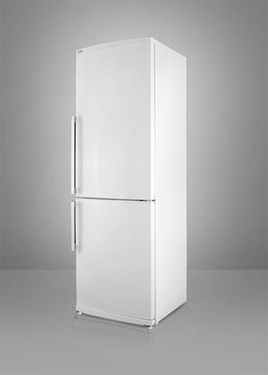 Summit FFBF280W  Counter Depth Bottom Freezer Refrigerator with 13.81 cu. ft. Total Capacity 4 Glass Shelves