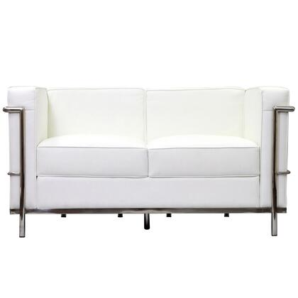 Modway EEI127WHI Charles Series Leather Stationary with Metal Frame Loveseat