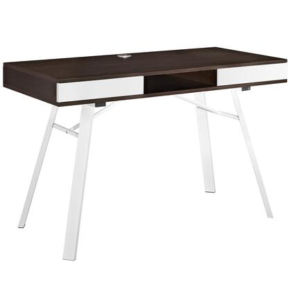 Modway EEI-1322 Stir Office Desk with Modern Design, Powder Coated White Steel Legs, Right/Left Easy Glide Drawers, Reinforced Cord Holes, MDF Construction and Wood Grain Melamine Finish