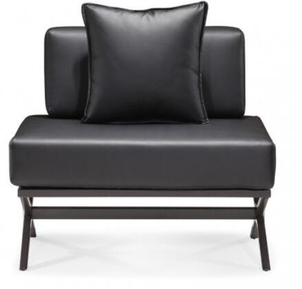 Zuo 500182 Xert Series Modular Chair with Leather Frame in Black