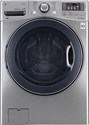 "LG WM3770HxA 27"" Energy Star Qualified Front Load Washer with 4.5 cu. ft. Capacity, 12 Wash Programs, TurboWash, Steam Technology, Allergiene Cycle, LoadSense, SmartDiagnosis, TrueBalance Anti-Vibration System, and Stainless Steel Drum"
