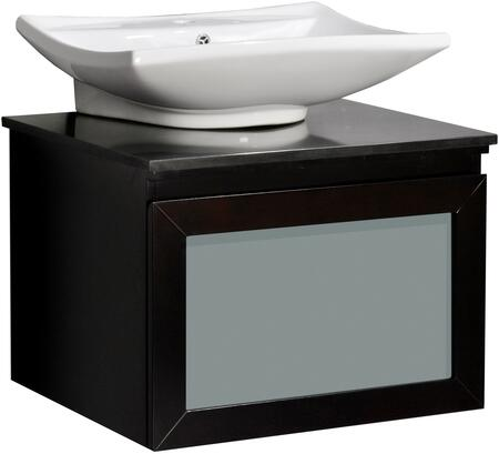 Belmont Decor Newport Single Sink Vanity Set with Ceramic Basin, Frosted Glass Drawer, CARB Compliant, Granite Top, Scratch Resistant, Veneer and Solid Wood Cabinet Construction in Espresso Finish