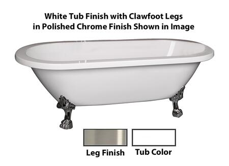 "Barclay ADR70LP Colin 70"" Acrylic Double Roll Top Clawfoot Tub, with White Tub Finish, No Overflow, Lion Paw Clawfoot Design, , with Clawfoot Finish in"