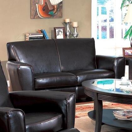 Coaster 600012 Leather Stationary with Wood Frame Loveseat