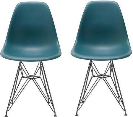 EdgeMod EM104BLKTEAX2 Padget Series Contemporary Metal Frame Dining Room Chair
