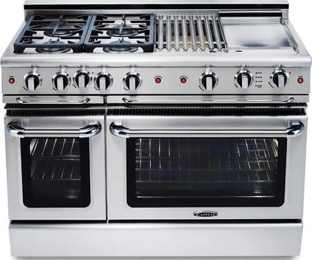 "Capital GSCR484QGL 48"" PRECISION Series Gas Freestanding Range with Sealed Burner Cooktop, 4.6 cu. ft. Primary Oven Capacity, in Stainless Steel"