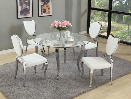 "Chintaly LETTYXX48LACEY LETTY DINING Mirror Top 5Pc Set - 48"" Round Glass Dining Table with 4 White Heart Back Cabriole Designed Legs Chairs"