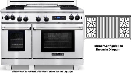 "American Range ARR-484X2GRDF 48"" Medallion Dual Fuel Range with 4.7 cu. ft. Primary Oven Capacity, 2.7 cu. ft. Secondary Oven Capacity, 4 Sealed Burners, 22"" Grill and Ceramic Infrared Broiler, in Stainless Steel:"