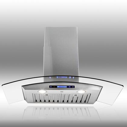 """AKDY AWRD530 30"""" Wall Mount Range Hood with 760 CFM, 65 dB, Innovative Touch, 3 Fan Speed, Delayed Auto Shut Off, Stainless Steel Baffle Filter, Halogen Lighting, Remote Control and X: Stainless Steel"""