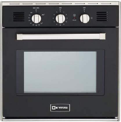 "Verona VEBIG24N 24"" Single Gas Wall Oven with 2.0 cu. ft. Capacity, Electronic Ignition, EZ Clean Porcelain Interior, Infrared Broiler, 2 Heavy Duty Racks, Chrome Handle and Bell Timer , in"