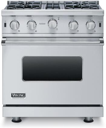 """Viking VGIC53014B 30"""" Professional 5 Series Gas Range with 4 Stainless Steel Open Burners with Porcelain/Cast Iron Caps, 4 cu. ft. Oven Capacity, VariSimmer Setting, SureSpark Ignition and Gourmet-Glo Infrared Broiler, in"""